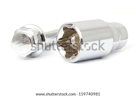 Pair of lock car wheel bolts isolated on white stock photo