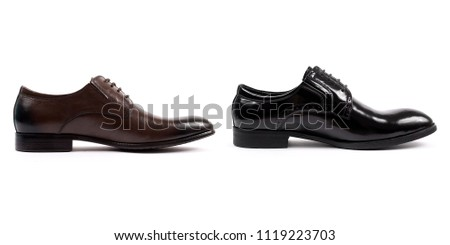 Black Glossy Man Shoes Isolated On White Background Images
