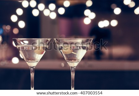 Pair of martini drinks.