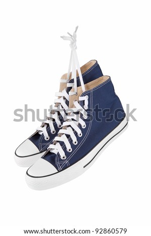 Pair of new blue sneakers isolated on white