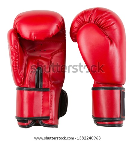 pair of new boxing gloves, leather gloves, on a white background, isolate