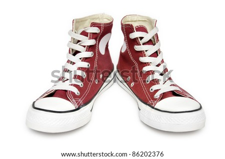 Pair of  new red sneakers isolated on white background #86202376