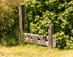 Pair of old stocks on the roadside in Berkshire. Used as a punishment for small Time misedemeanours.