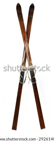 Pair of old wooden alpine skis isolated on white