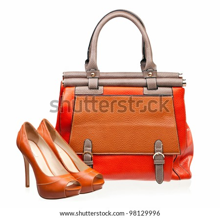 Pair of open-toe female shoes and handbag over white