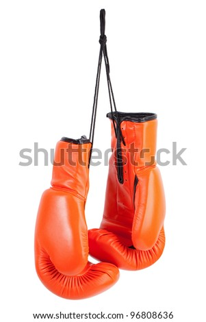 Pair of orange boxing gloves on a white background