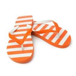 Pair of orange striped sandal on white background