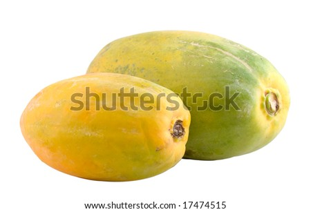 Pair of Papayas with Clipping path