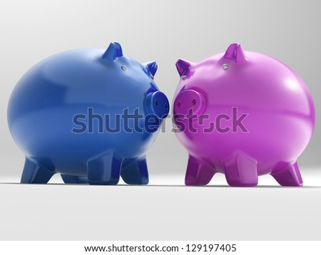 Pair Of Pigs Showing Savings Banking And Money