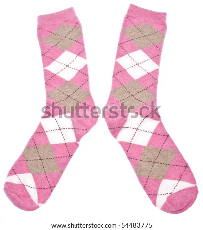 Pair of Pink Argyle Socks Isolated on White with a Clipping Path.