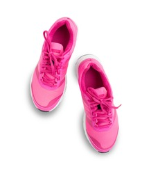 pair of pink sport shoes isolated on white background, Pair of sneakers isolated on white background
