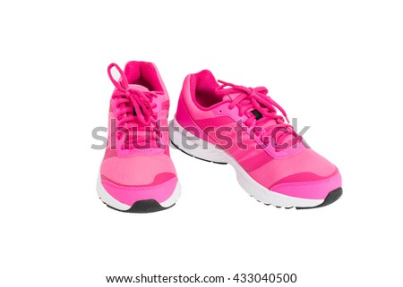 3096313d29448 pair of pink sport shoes isolated on white background