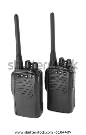 Pair of  portable radio sets. Isolated on white.