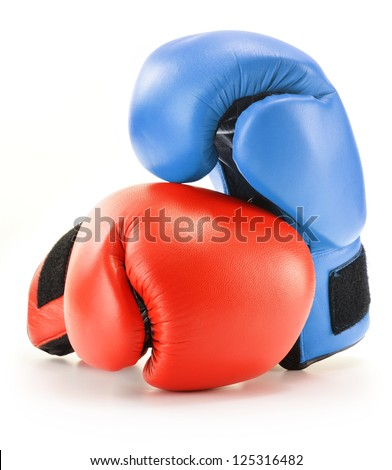 Pair of red and blue leather boxing gloves isolated on white