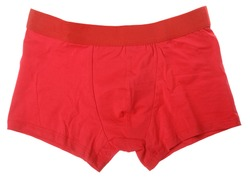 Pair of red boxer briefs or trunks men's underwear isolated on a white background