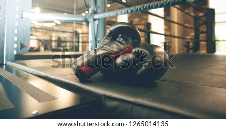 Pair of red boxing gloves in ring