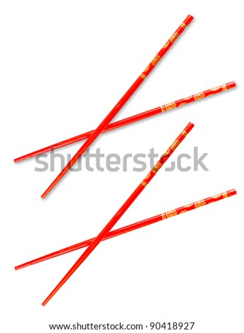 Pair of red chopsticks isolated on white with clipping path included