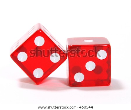 pair of red dice on a white background.