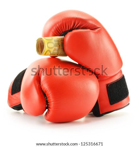 Pair of red leather boxing gloves and euro banknotes isolated on white background