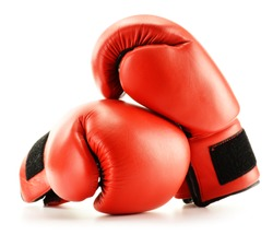 Pair of red leather boxing gloves isolated on white