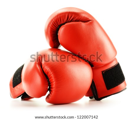 Pair of red leather boxing gloves isolated on white Stock photo ©