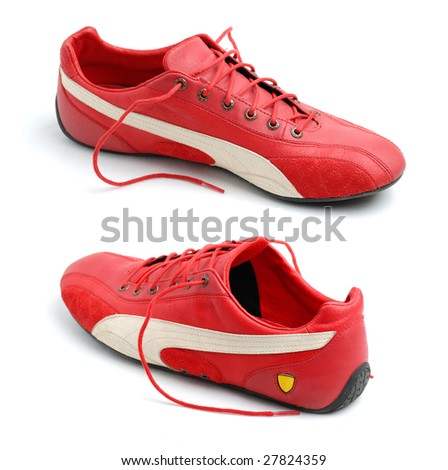 Pair of red sport shoes
