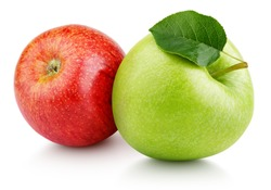 Pair of ripe red and green apple fruits with apple leaf isolated on white background. Apples with clipping path