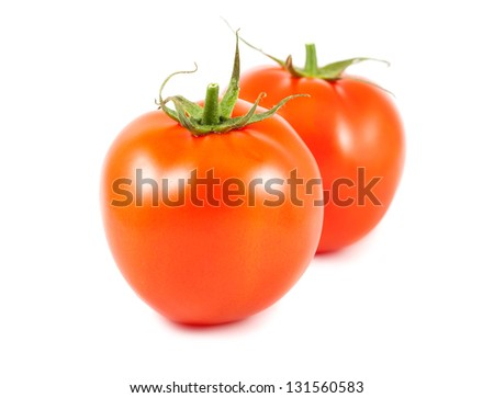 Pair of ripe tomato isolated on white background
