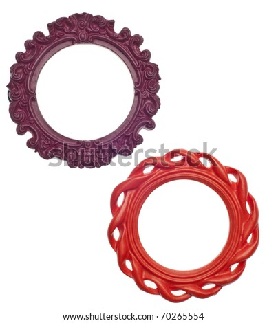 Pair of Round Modern Vibrant Colored Empty Frames Isolated on White with a Clipping Path.