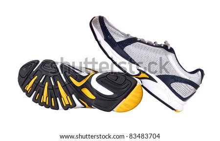 Pair of running shoes isolated in white background.