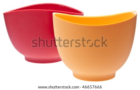 Pair of Silicone Mixing Bowls Isolated on White with a Clipping Path.