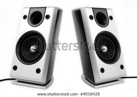 Pair of silver pc speakers isolated over white background