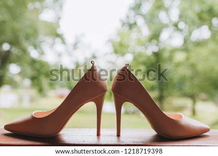 Pair of simple elegant high heeled shoes #1218719398