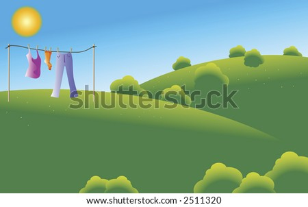 Pair of socks, a top and jeans drying under sun at a green field.