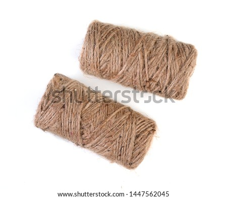 Pair of spools of natural linen twine, isolated on white background, top view. #1447562045