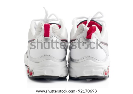 Pair of sport shoes on white background