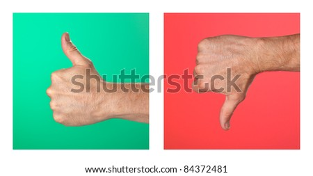 Pair of Thumbs up and Thumbs Down Signs on Green and Red Background
