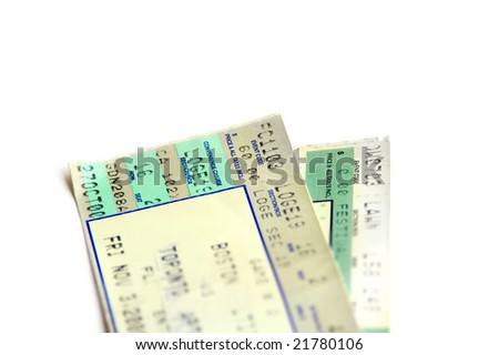 Pair of tickets, closeup isolated on white
