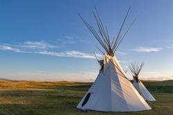 Pair of tipis on the plains of Montana, USA.