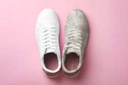 Pair of trendy shoes before and after cleaning on pink background, top view
