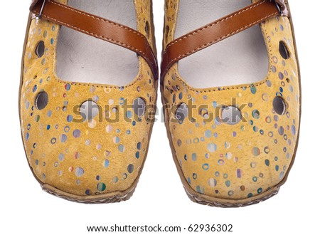 Pair of Trendy Yellow Shoes with Dots Isolated on White.