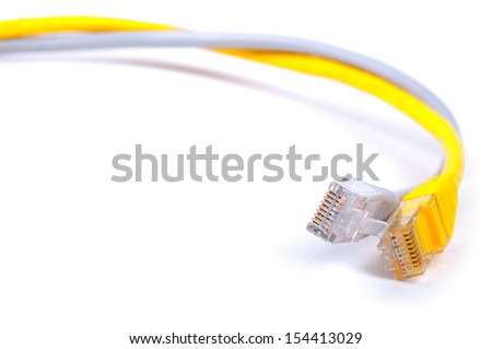 Pair of twisted network Ethernet cables. Close-up with Shallow Depth of Field. Isolated on white background.