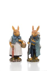 Pair of two easter rabbit figures illustrating an old married couple