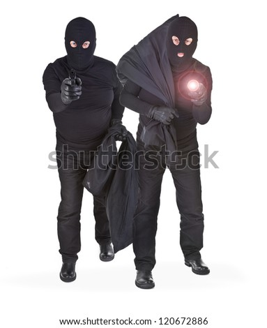 pair of two robbers on white background