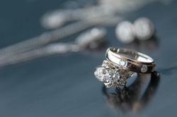 pair of wedding ring on table