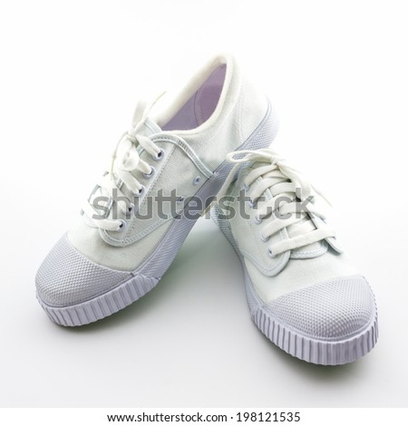 Pair of white sport shoes on white background. #198121535