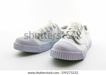 Pair of white sport shoes on white background.  #199273232
