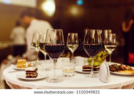 Pair of wine glasses.