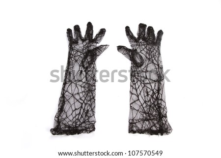 pair of woman black lace gloves