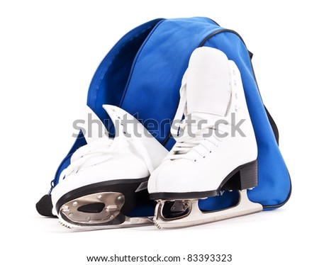 Pair of women figure skates with bag  isolated on white background